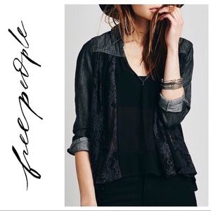 Free People Denim Lace Sheer Swing Tunic